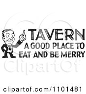 Clipart Retro Black And White Man With Tavern A Good Place To Eat And Be Merry Text Royalty Free Vector Illustration by BestVector