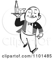 Clipart Retro Black And White Waiter Carrying Wine And Glasses On A Tray Royalty Free Vector Illustration by BestVector
