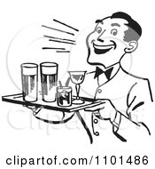 Clipart Retro Black And White Happy Waiter Serving Cocktails Royalty Free Vector Illustration