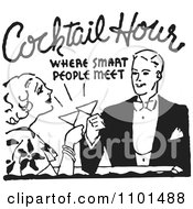 Clipart Retro Black And White Couple Toasting At Cocktail Hour Royalty Free Vector Illustration