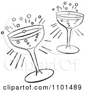 Clipart Retro Black And White Cocktail Glasses Royalty Free Vector Illustration by BestVector