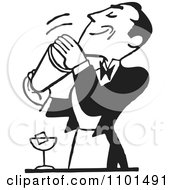 Clipart Retro Black And White Bartender Mixing Drinks Royalty Free Vector Illustration