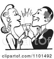 Clipart Retro Black And White Couple Toasting Royalty Free Vector Illustration
