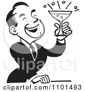 Clipart Retro Black And White Man Laughing And Holding A Cocktail Royalty Free Vector Illustration by BestVector