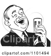Clipart Retro Black And White Man Laughing And Holding A Beer Royalty Free Vector Illustration by BestVector