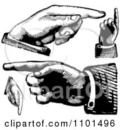 Clipart Retro Black And White Hands Pointing In Different Directions Royalty Free Vector Illustration by BestVector