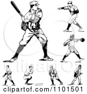 Clipart Retro Black And White Baseball Players Royalty Free Vector Illustration by BestVector