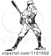 Clipart Retro Black And White Baseball Player Batting Royalty Free Vector Illustration