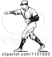 Retro Black And White Baseball Player Pitcher