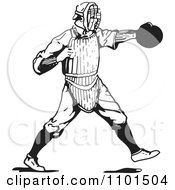 Retro Black And White Baseball Player Catcher