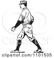 Clipart Retro Black And White Baseball Player Walking Royalty Free Vector Illustration by BestVector