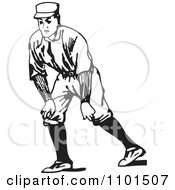 Retro Black And White Baseball Player Ready To Run
