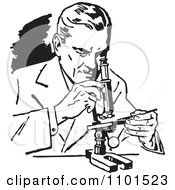 Clipart Retro Black And White Scientist Using A Microscope Royalty Free Vector Illustration by BestVector