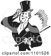 Clipart Retro Black And White Gentleman Tipping His Hat And Carrying A Cane Royalty Free Vector Illustration