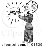 Clipart Retro Black And White Gentleman Admiring A Hat Royalty Free Vector Illustration