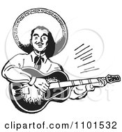 Clipart Retro Black And White Happy Mexican Mariachi Guitarist Royalty Free Vector Illustration