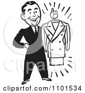 Clipart Retro Black And White Male Personal Shopper Holding A Business Dress Suit Royalty Free Vector Illustration