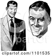 Clipart Retro Black And White Businessman In A Suit And Face Royalty Free Vector Illustration