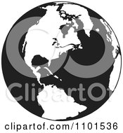 Clipart Retro Black And White Earth Featuring The Americas Royalty Free Vector Illustration by BestVector