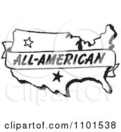 Clipart Retro Black And White All American Banner Over A Map Royalty Free Vector Illustration