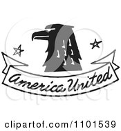Clipart Retro Black And White Eagle With American United Banner Royalty Free Vector Illustration by BestVector