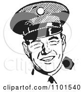 Clipart Retro Black And White Happy Police Officer Royalty Free Vector Illustration by BestVector