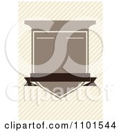 Clipart Brown Crest Shield With Copyspace Over Diagonal Lines Royalty Free Vector Illustration
