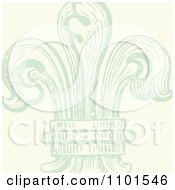 Clipart Green Distressed Fleur De Lis On Beige Royalty Free Vector Illustration by BestVector