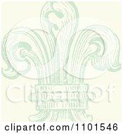 Green Distressed Fleur De Lis On Beige