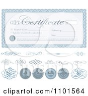 Clipart Blue Gift Certificate With Swirls And Seals Royalty Free Vector Illustration