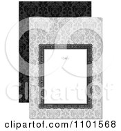 Clipart White Frame With A Swirl Over Gray Floral And Black Royalty Free Vector Illustration