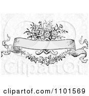 Victorian Floral Banner Over Gray Damask