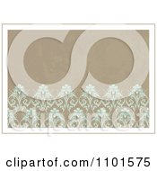 Distressed Tan Background With Turquoise Flowers With A White And Tan Border
