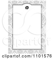 Clipart White Frame With A Rose Over Gray Floral Royalty Free Vector Illustration