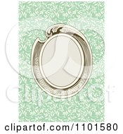 Clipart Retro Oval Frame Over Green With Biege Vines Royalty Free Vector Illustration