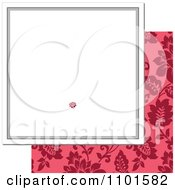 Clipart White Frame With A Red Rose Over Pink Floral On White Royalty Free Vector Illustration