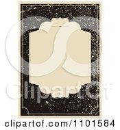 Clipart Beige Frame Over Distressed Black Grunge Royalty Free Vector Illustration