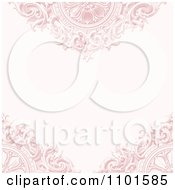Faded Ornate Pink Background With Wooden Designs And Copyspace