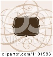 Clipart Brown Frame Over Swirls On Beige Royalty Free Vector Illustration by BestVector