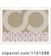 Clipart Grungy Tan Background With Pink Designs And Beige Borders Royalty Free Vector Illustration