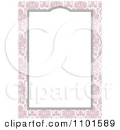 Clipart White Frame With A Rose Over Pink Floral Royalty Free Vector Illustration