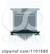 Clipart Blue Crest Shield With Copyspace Over Diagonal Lines Royalty Free Vector Illustration