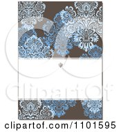 Clipart Brown Victorian Background With Blue Flowers And Copyspace Royalty Free Vector Illustration