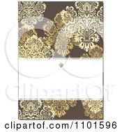 Clipart Brown Victorian Background With Yellow Flowers And Copyspace Royalty Free Vector Illustration