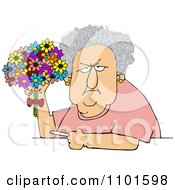 Clipart Grumpy Old Lady Holding A Bouquet Of Daisies And A Cigarette Royalty Free Vector Illustration by djart