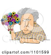 Clipart Grumpy Old Woman Holding A Bouquet Of Daisies And A Cigarette Royalty Free Vector Illustration