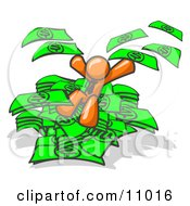 Orange Business Man Jumping In A Pile Of Money And Throwing Cash Into The Air Clipart Illustration