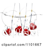 Clipart Red Love Hearts On A Hook Underwater Royalty Free Vector Illustration