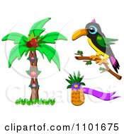 Clipart Palm Tree Toucan And Pineapple Royalty Free Vector Illustration by bpearth