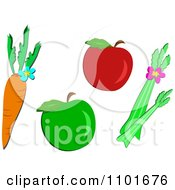 Clipart Carrot Apples And Celery Royalty Free Vector Illustration by bpearth